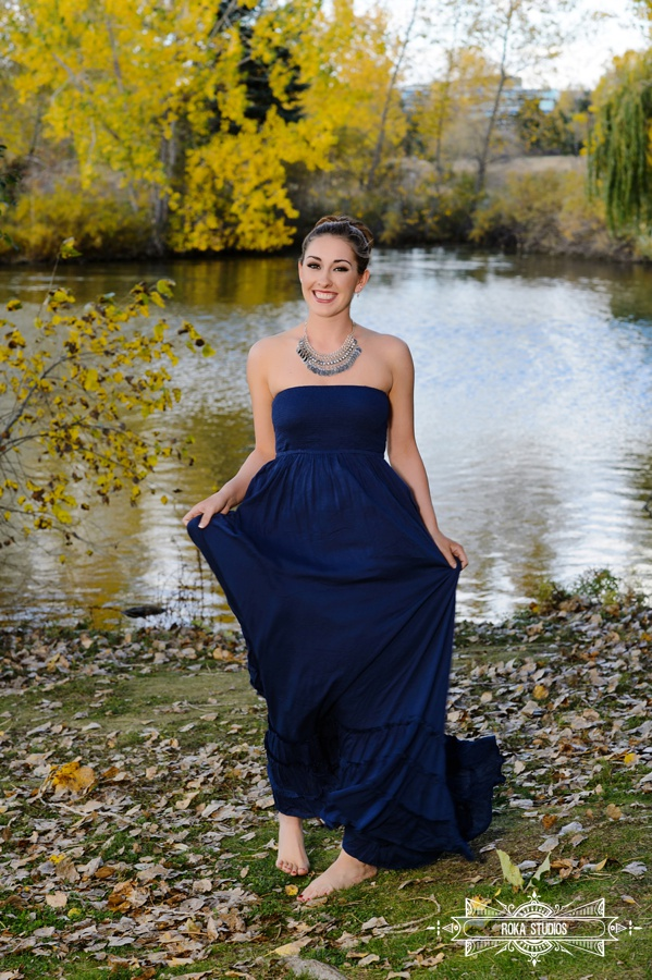 senior photo in prom dress
