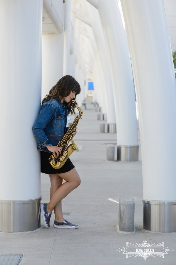 Denver senior picture with saxophone