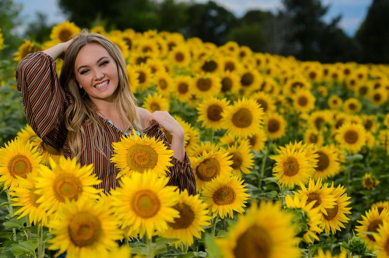 Sunflower and high school senior photo